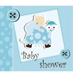 Baby shower - boy sleep on a turtle vector image vector image