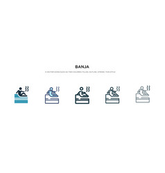 Banja icon in different style two colored vector