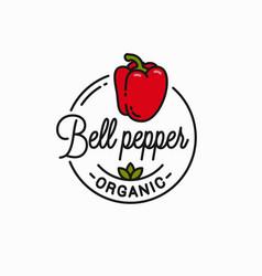 bell pepper logo round linear red pepper vector image