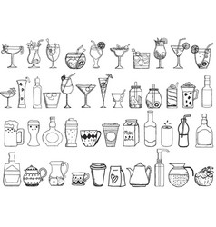 big set hand drawn drinks on white background vector image