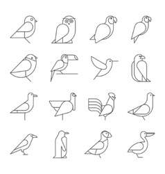 Bird icons thin line style flat design vector