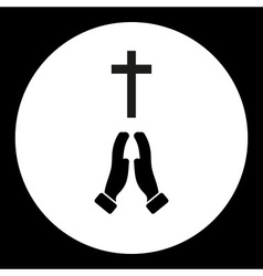 Black isolated religion cross and praying hands vector