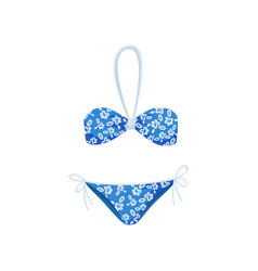 blue bikini with floral pattern fashionable women vector image