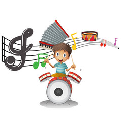 boy plays drumset with music notes in background vector image