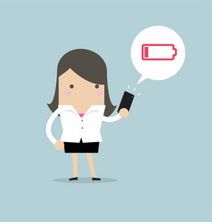businesswoman using smartphone with low battery vector image