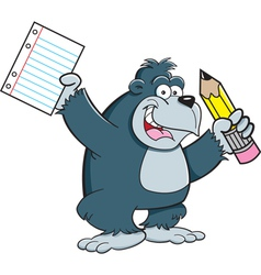 Cartoon Gorilla Student vector image