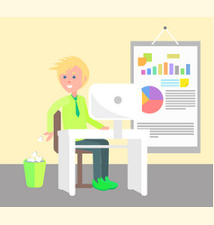 cheerful man working in office vector image