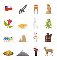Chile Flat Colored Icons vector image