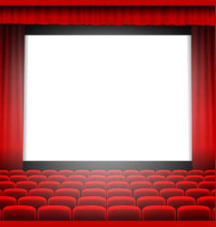 Cinema screen with red curtain vector