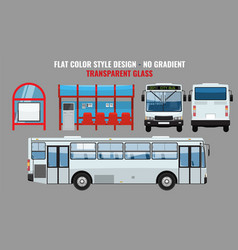 City bus and bus stop side front and back view vector