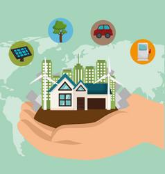 cityscape scene eco friendly vector image