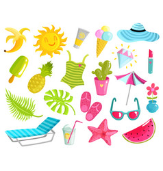 Collection of summer stuff vector