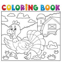 coloring book running turkey bird 2 vector image