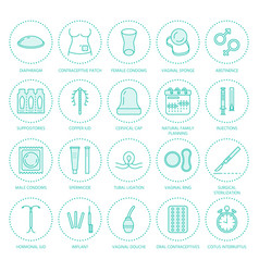 Contraceptive methods line icons birth control vector