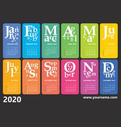 creative wall calendar 2020 with rainbow design vector image