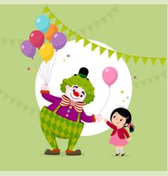 cute clown giving a balloon to a girl vector image