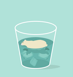 cute polar bear in a glass vector image