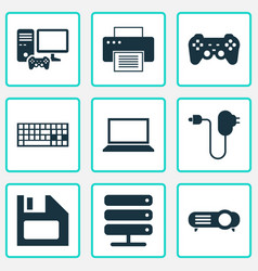 device icons set with notebook floppy disk vector image
