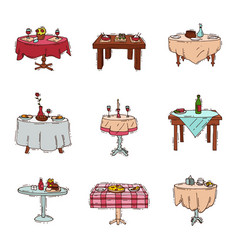 Dining tables in restaurant set lunch vector