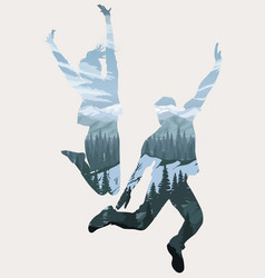 Double exposure happy jumping people silhouettes vector