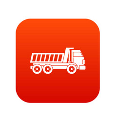 dumper truck icon digital red vector image