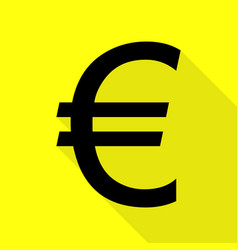 euro sign black icon with flat style shadow path vector image
