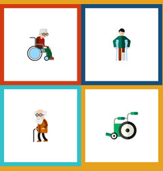 Flat icon handicapped set of injured wheelchair vector