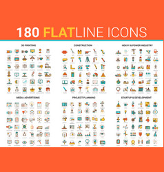 flat thin line icon with 3d vector image