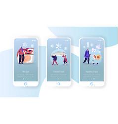 Frozen food mobile app page onboard screen vector