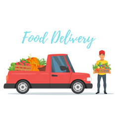 Fruit and vegetables delivery car vector