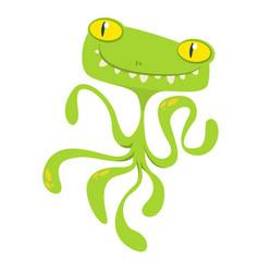 Funny green cartoon monster vector