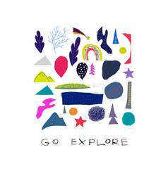 Go explore cutout collage nature space star card vector