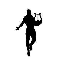 God apollon lyre silhouette ancient mythology vector