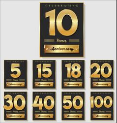 golden anniversary banner collection vector image