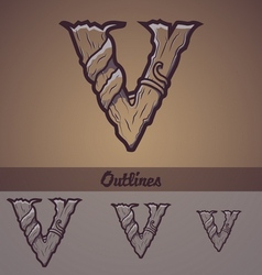 Halloween decorative alphabet - V letter vector image