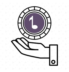 hand and music purple isolated icon design vector image