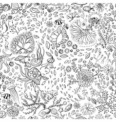 hand drawn underwater world seamless background vector image
