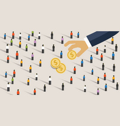 hand pick and put money from to crowd of vector image