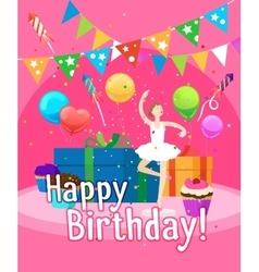 Happy birthday card template for girl vector