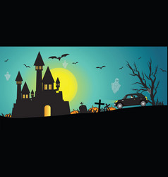 happy halloween day ghost party with castle on vector image