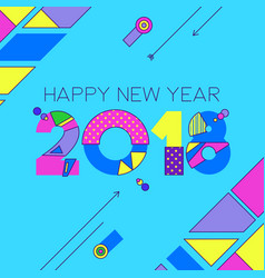Happy new year 2018 color 80s number greeting card vector