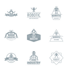 Hi tech industry logo set simple style vector