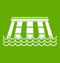 Hydroelectric power station icon green vector