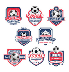 icons for soccer club football team league vector image