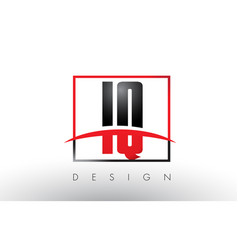 Iq i q logo letters with red and black colors and vector