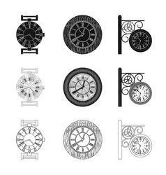isolated object of clock and time icon collection vector image