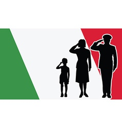 Italy soldier family salute vector image