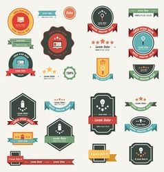 Label And Ribbon template design set vector image