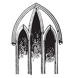 Lancet window or wancet windows vintage engraving vector