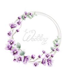 lavender wreath wedding frame watercolor floral vector image